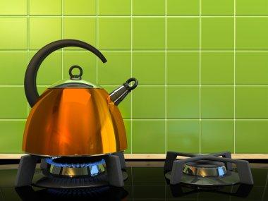 Orange kettle on the gas-stove