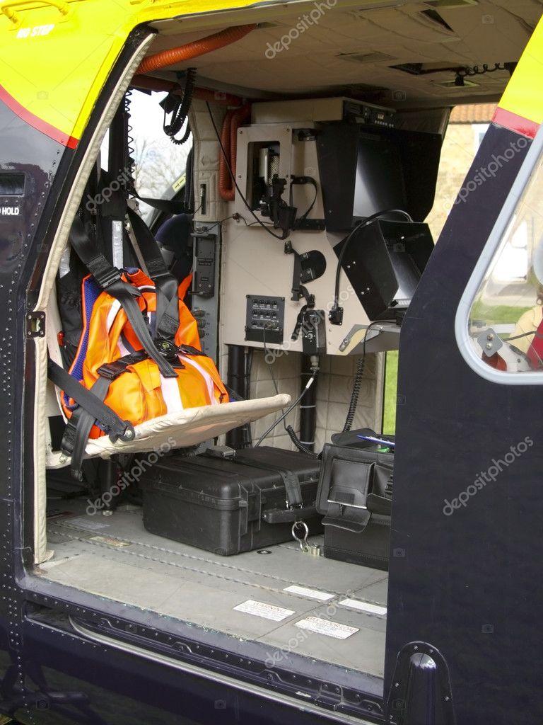 Elicottero Interno : Interno di un elicottero della polizia u foto stock emjaysmith