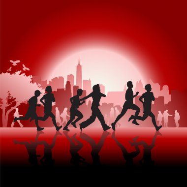 Silhouetted runners in front of city