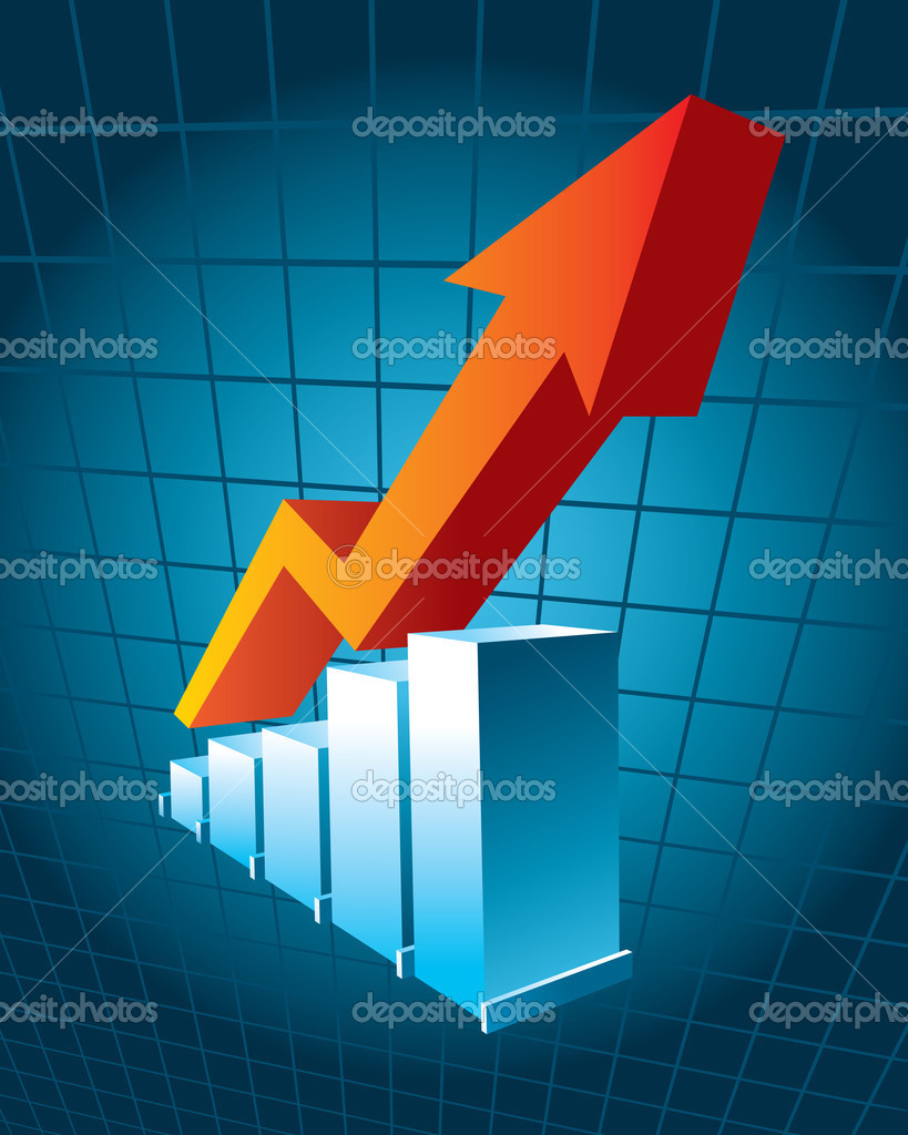 Business Graph with arrow showing profit