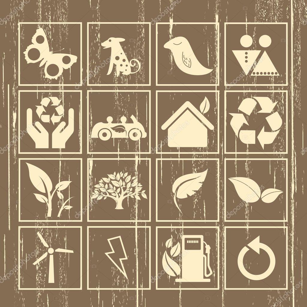 Eco icon sign set vector