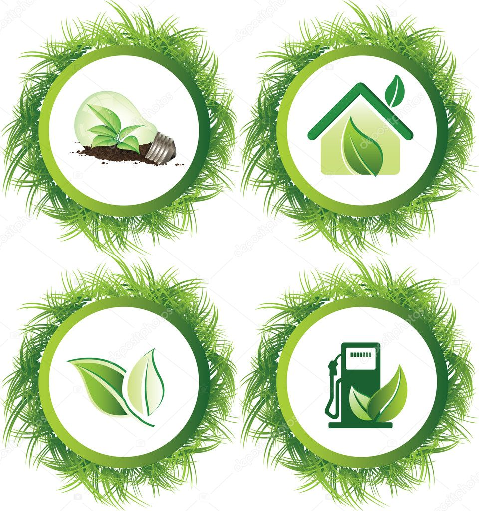 Ecology web push button icons vector