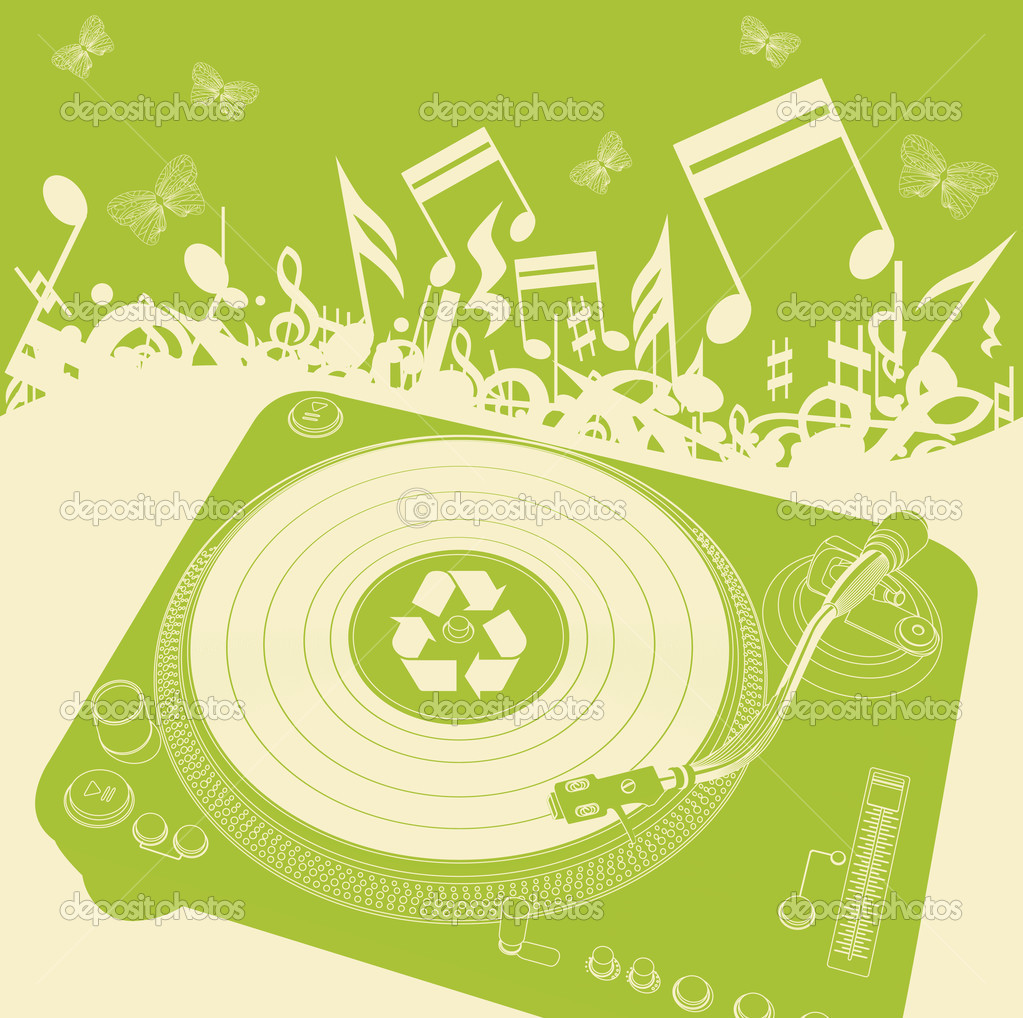 Eco music background vector