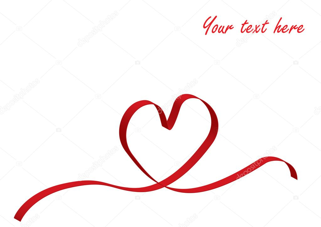 Red love heart ribbon for poster or card clipart vector