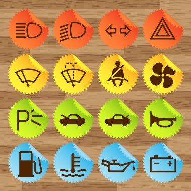 Car icon button set vector stickers