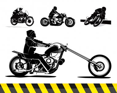 Chopper motorcycle vector set