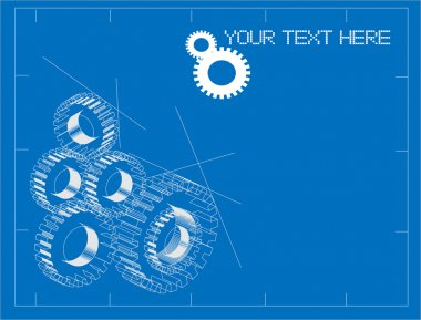 Gears blueprint vector illustration