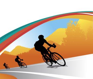Biker silhouette vector background