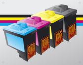 Printing ink cartridges background vector