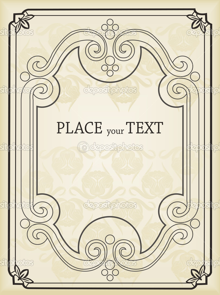 Classic Book Covers Vector : Vertical vintage background for book cover vector — stock