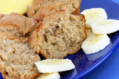 Banana Muffins with Sliced Banana