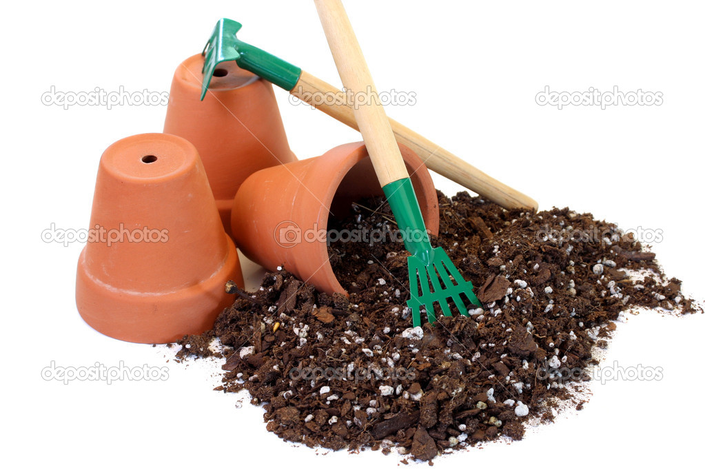 Pots, tools and soil for planting.