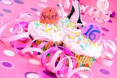 růžový sladký šestnáct košíčky