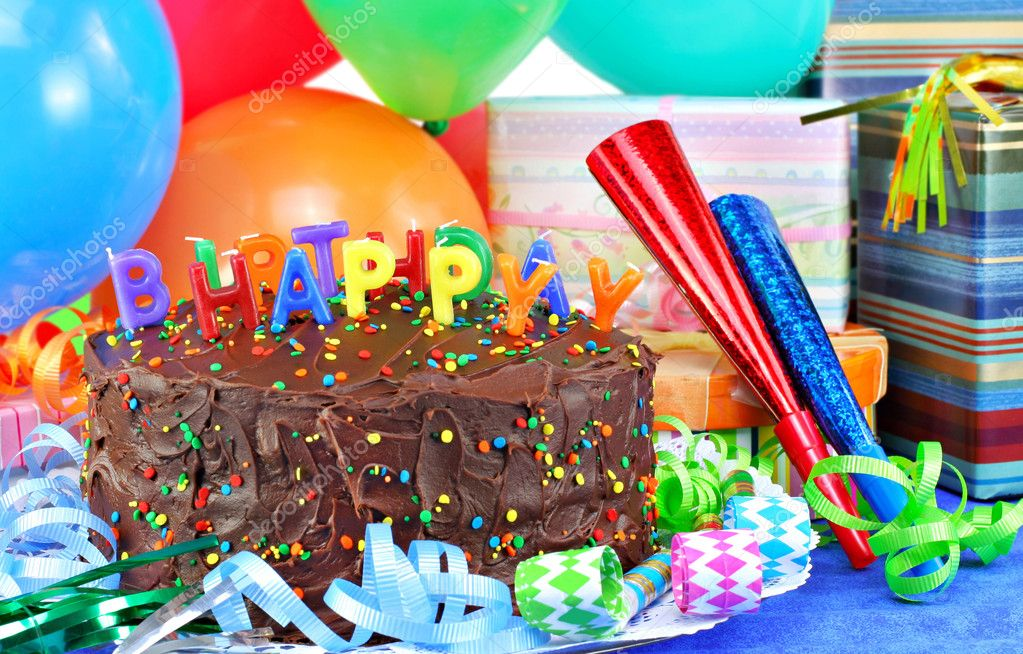 Happy Birthday Cake,balloons, gifts. — Stock Photo ...