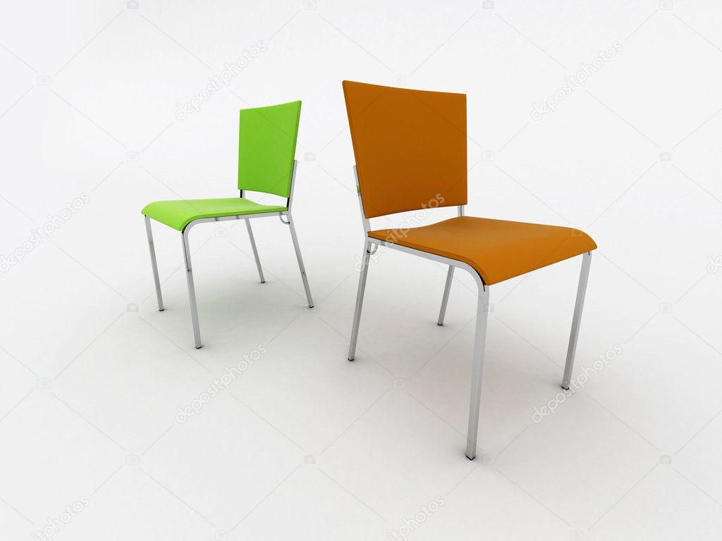 Interieur design stoelen geïsoleerd op wit u stockfoto