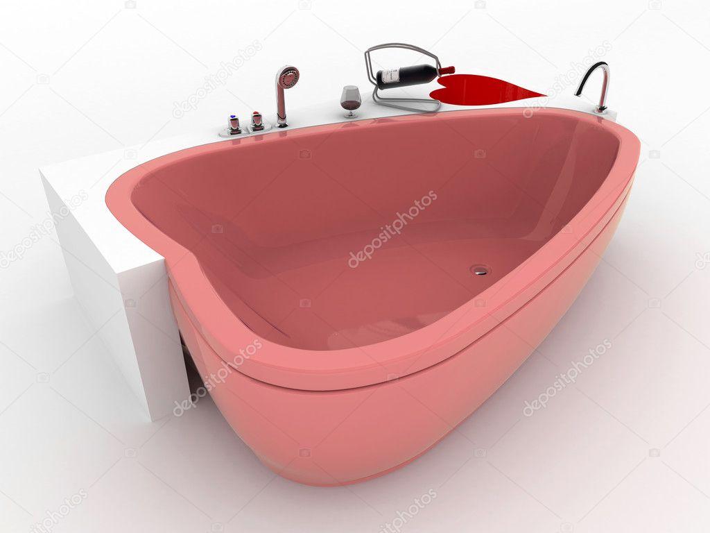 Vasca Da Bagno Rossa : Vasca da bagno rosa con vetro e bottiglia di vino rosso u foto