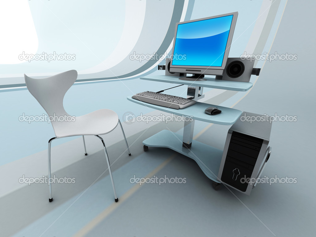 computer in high tech b ro stockfoto quaddesign 2905834. Black Bedroom Furniture Sets. Home Design Ideas