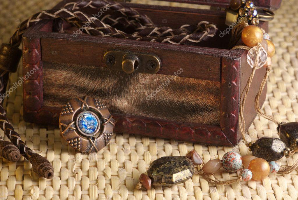 Jewelry in box a la retro on wicker background.