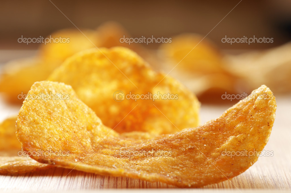 Potato chips close-up