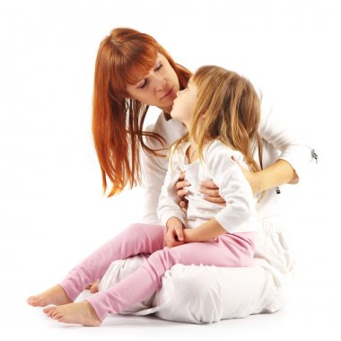 Hugging and looking at each other mother and daughter in white on white background. stock vector