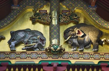 Elefants bas-relief In Shinto Shrine