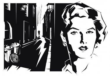 Girl face of dark city