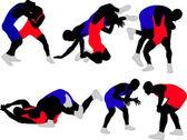 zápasníci siluety