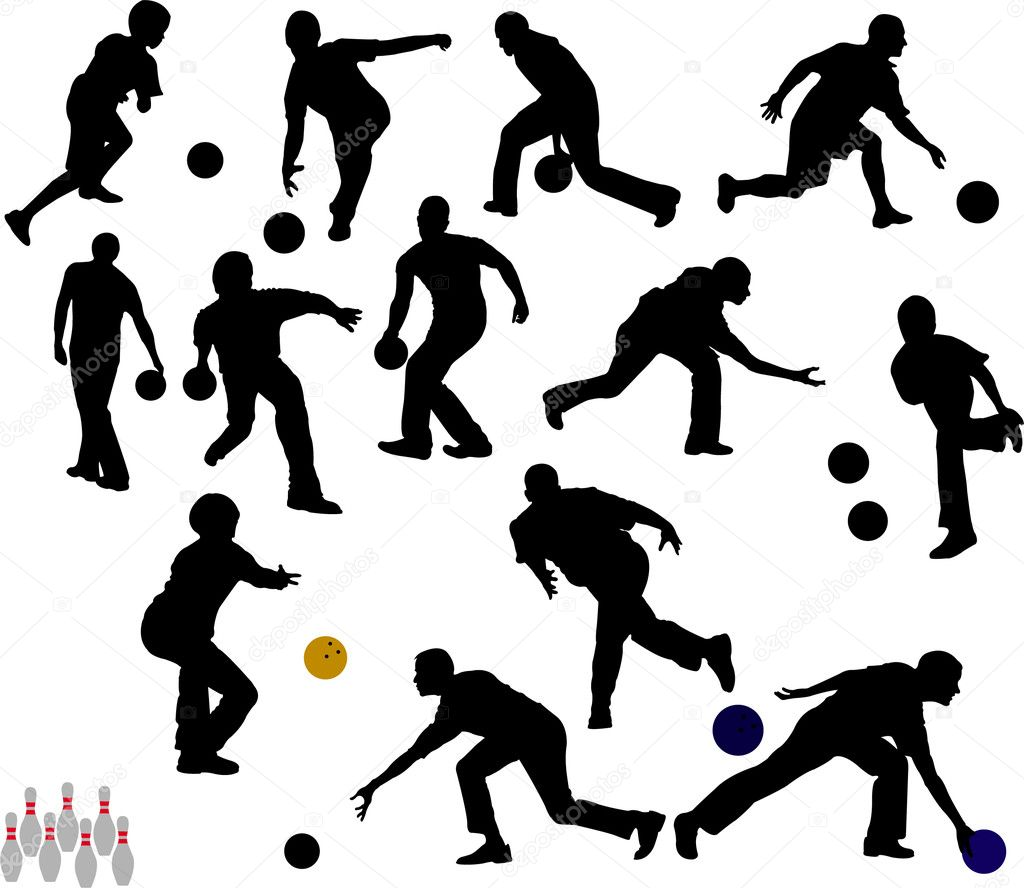 bowling vector silhouettes stock vector dusan j 2767051