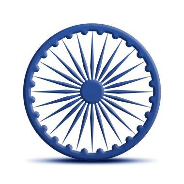 Ashoka Chakra - 3d Render with reflection stock vector