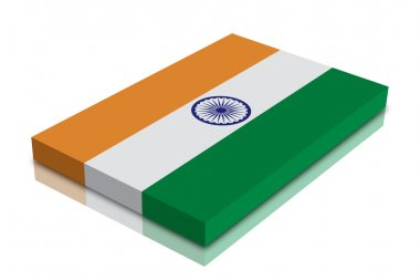 Indian flag - 3d Render with reflection stock vector