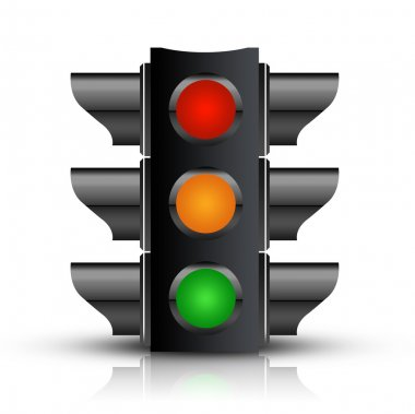 Traffic Light with - Isolated on White stock vector