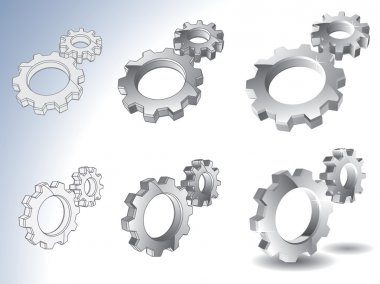 3d chrome gears vector