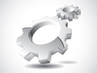 3d chrome gears vector