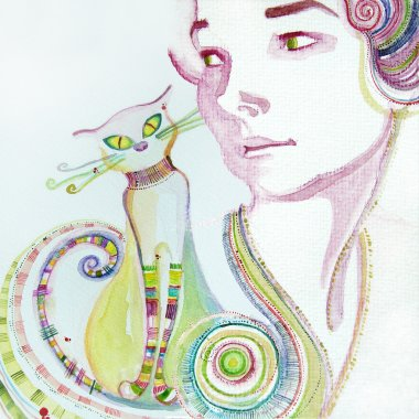 Illustrated cute girl with cat