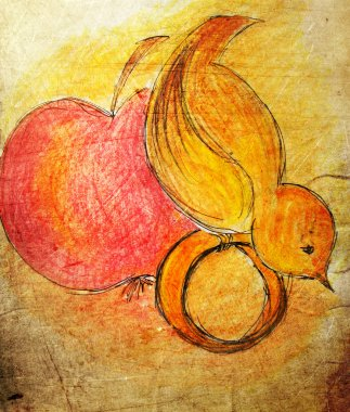 Illustrated little bird with apple and ring