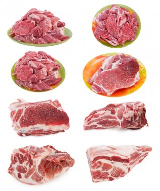 Fresh raw marble meat collection
