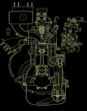 Drawing of gasoline engine