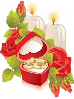 Jewelry box with wedding rings