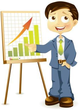 Businessman makes a report
