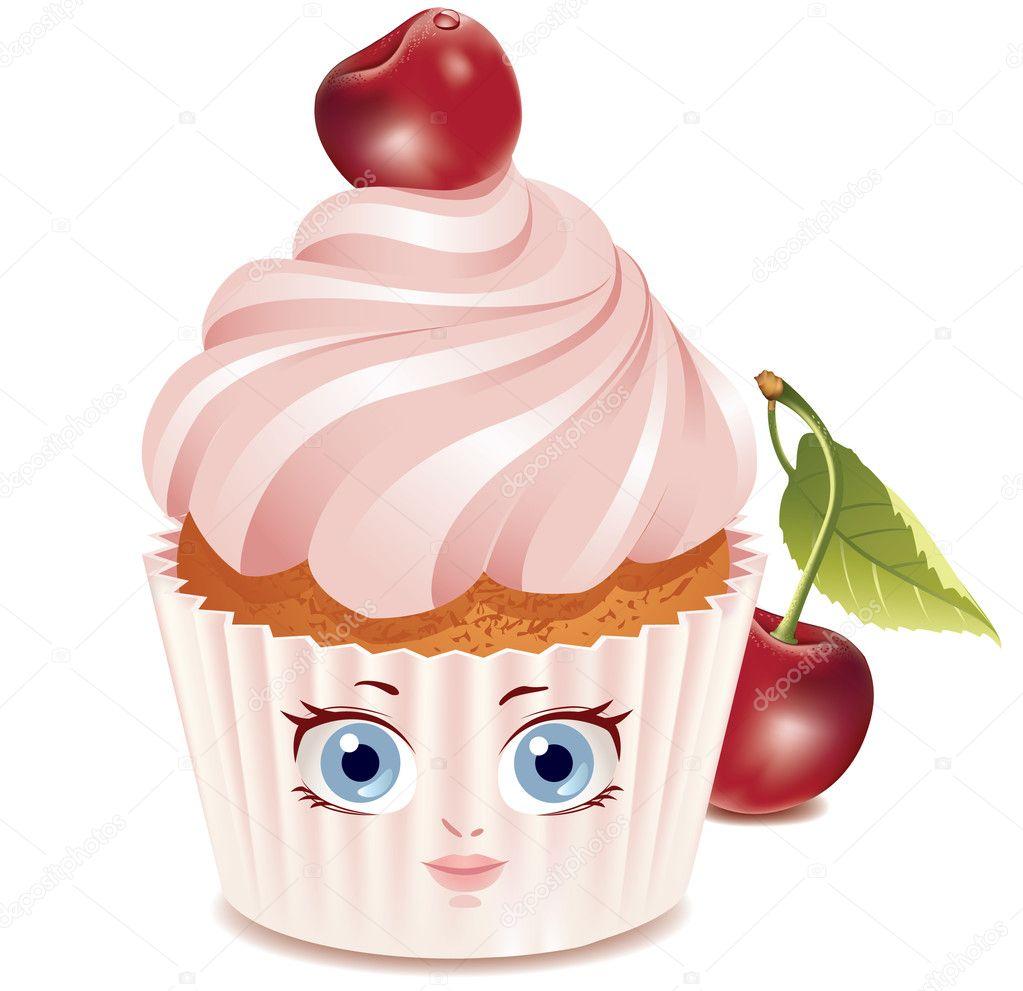 Cherry cupcake (character) — Archivo Imágenes Vectoriales ...