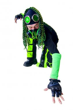 Cyber Goth guy posing like a spiderman