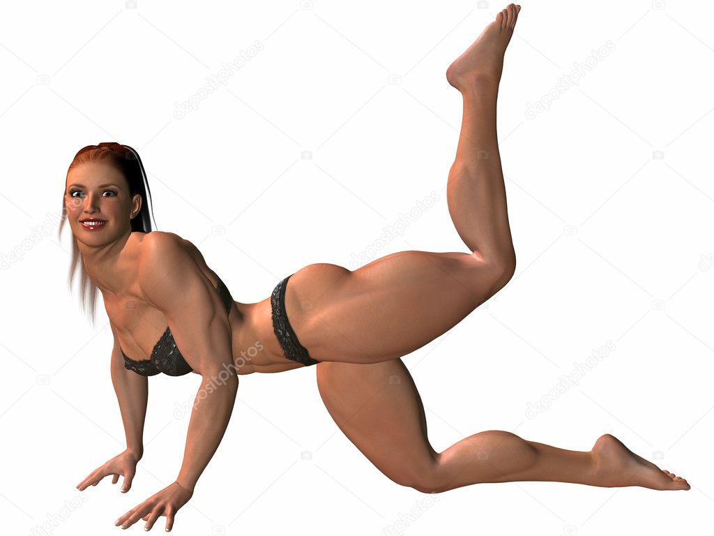 Female body builder erotic pose