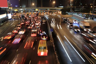 Traffic jam in Hong Kong at night