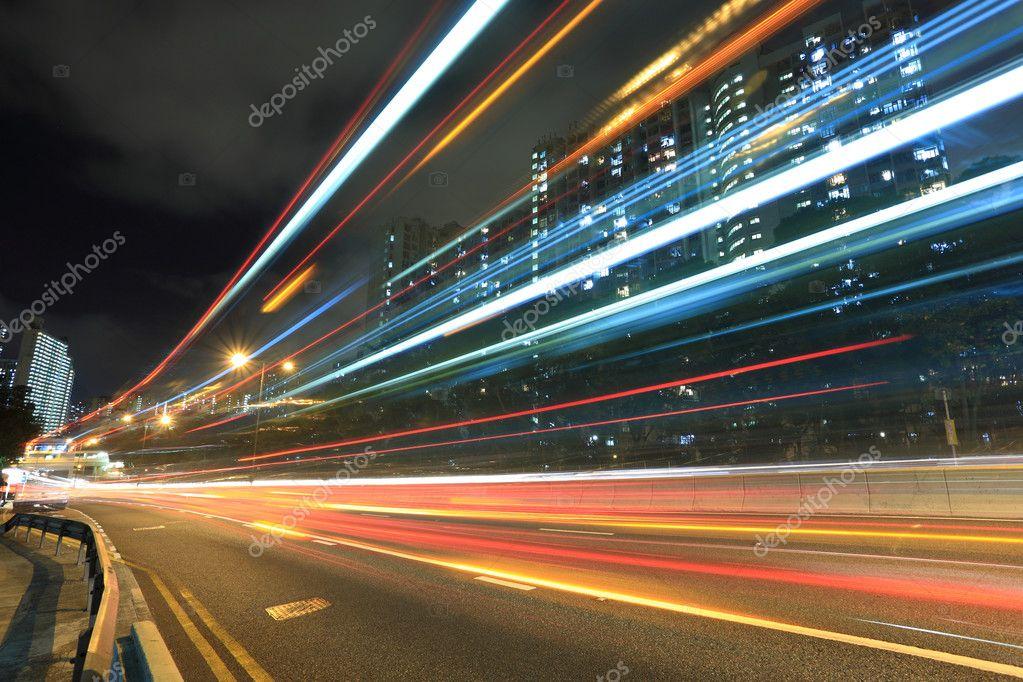 Фотообои Highway car light blur