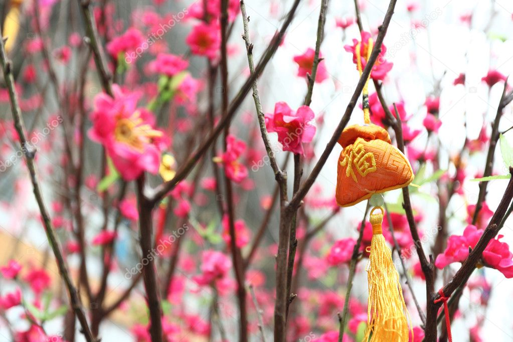 Chinese new year decoration--Yellow fortune bag and peach blossom