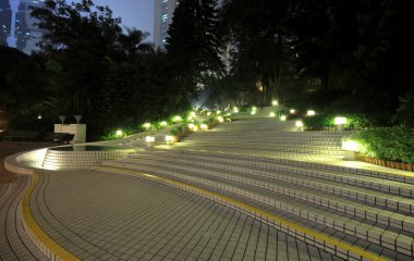 Stairs in park at night