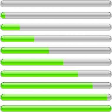 Green progress indicators. Vector illustration. clip art vector
