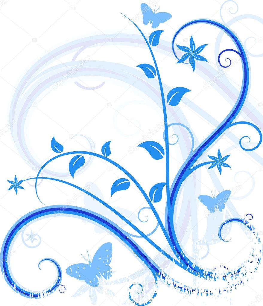 Blue floral background.