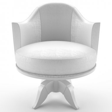 This 3D image white leather armchair stock vector