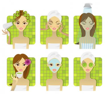 SPA, health and beauty illustrations clip art vector
